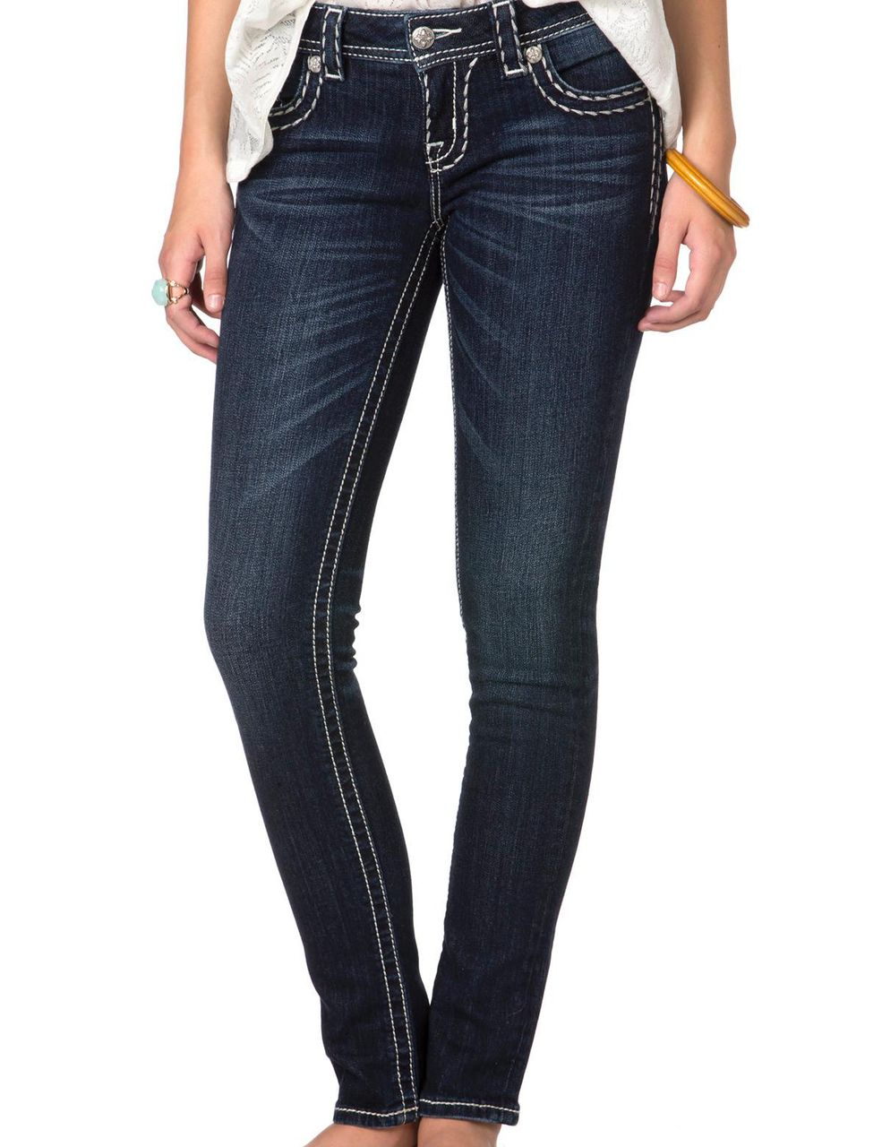 0fc1879ffd Miss Me DK RN Metallic Stitch Dark Skinny Jeans - Kimboze