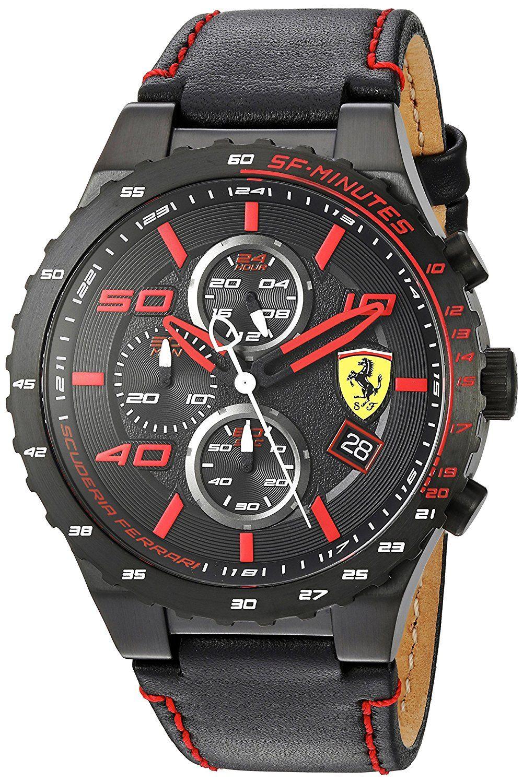 e4fb50f7e0e Amazon.com  Scuderia Ferrari Men s Quartz Stainless Steel and Leather  Casual Watch