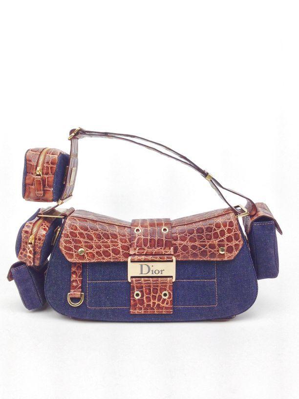 f32e281c2 Brand New Christian Dior Denim & Crocodile Street Chic Columbus Avenue  Multi-Pocket Bag. #dior #christiandior #bagoftheday