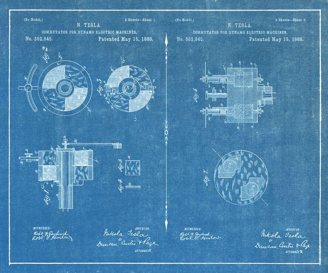 Canvas Art Poster 20x24 1888 Electro Magnetic Motor #3 Nikola Tesla Patents