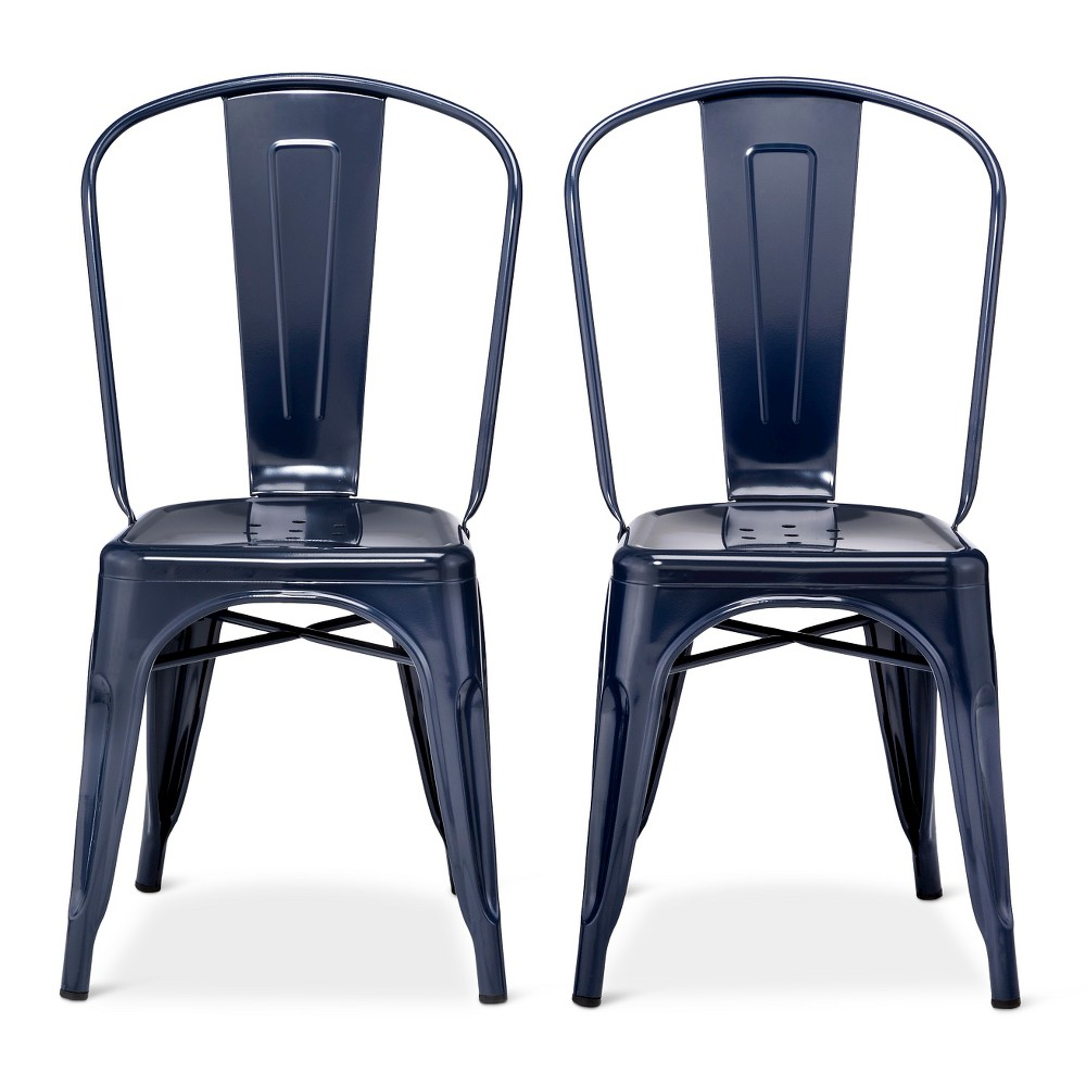Carlisle High Back Metal Dining Chair Navy Blue Set