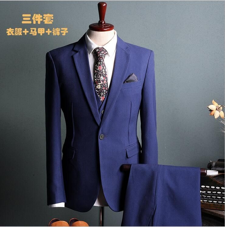 2017 New In stock Best man suit Groom Tuxedos Business black Blue ...