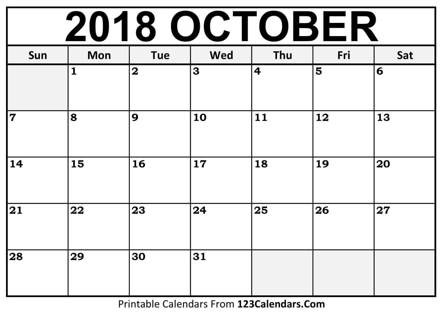 Image result for calendar for october 2018 Calendar