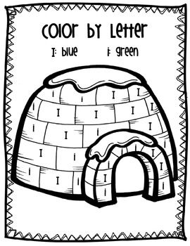 Color by letter Ii Igloo blue & green | Coloring Pages ...