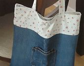 Upcycled Denim Bag, Pink and Blue Calico Cotton, Shopping Tote, Market Bag, Book Bag