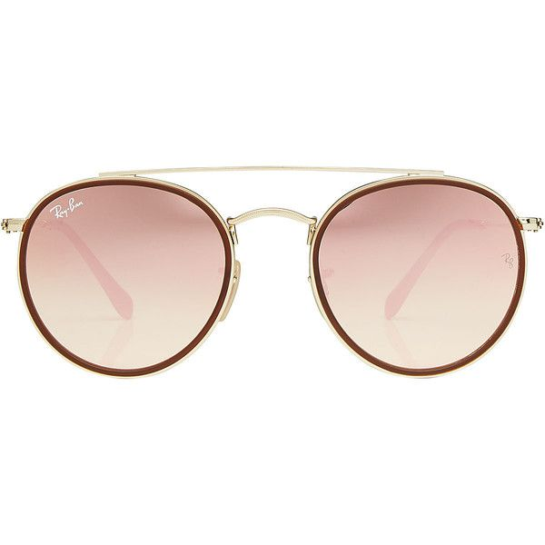 34a11805a5 Ray-Ban Round Double-Bridged Sunglasses ( 180) ❤ liked on Polyvore  featuring accessories
