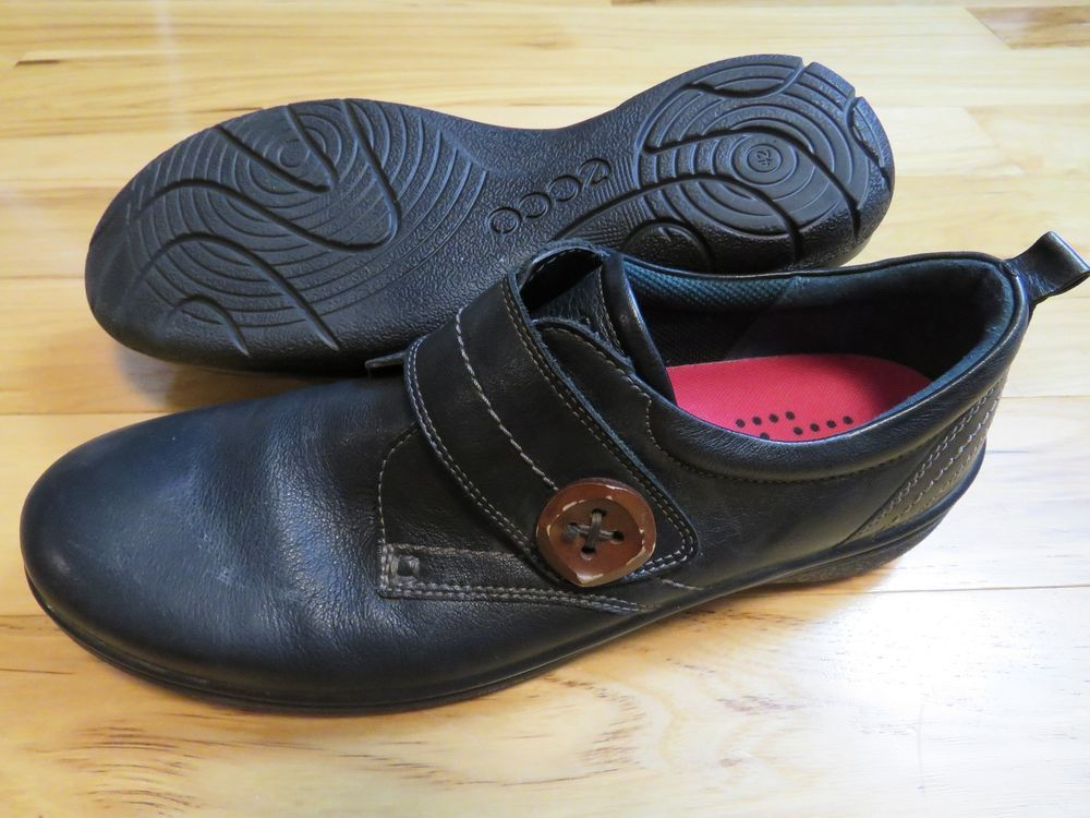ECCO Black Leather Shoes Loafers Button Velcro Closure Women's EU 42 US 11 /11.5…