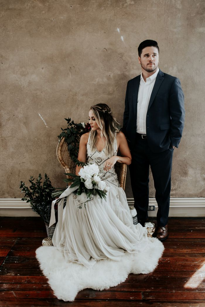 Some boho + industrial + luxe wedding inspo   Image by Sarah Joy Photo