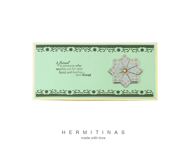 Tea Bag Folding Greeting Card Green And Yellow Greeting Card Green