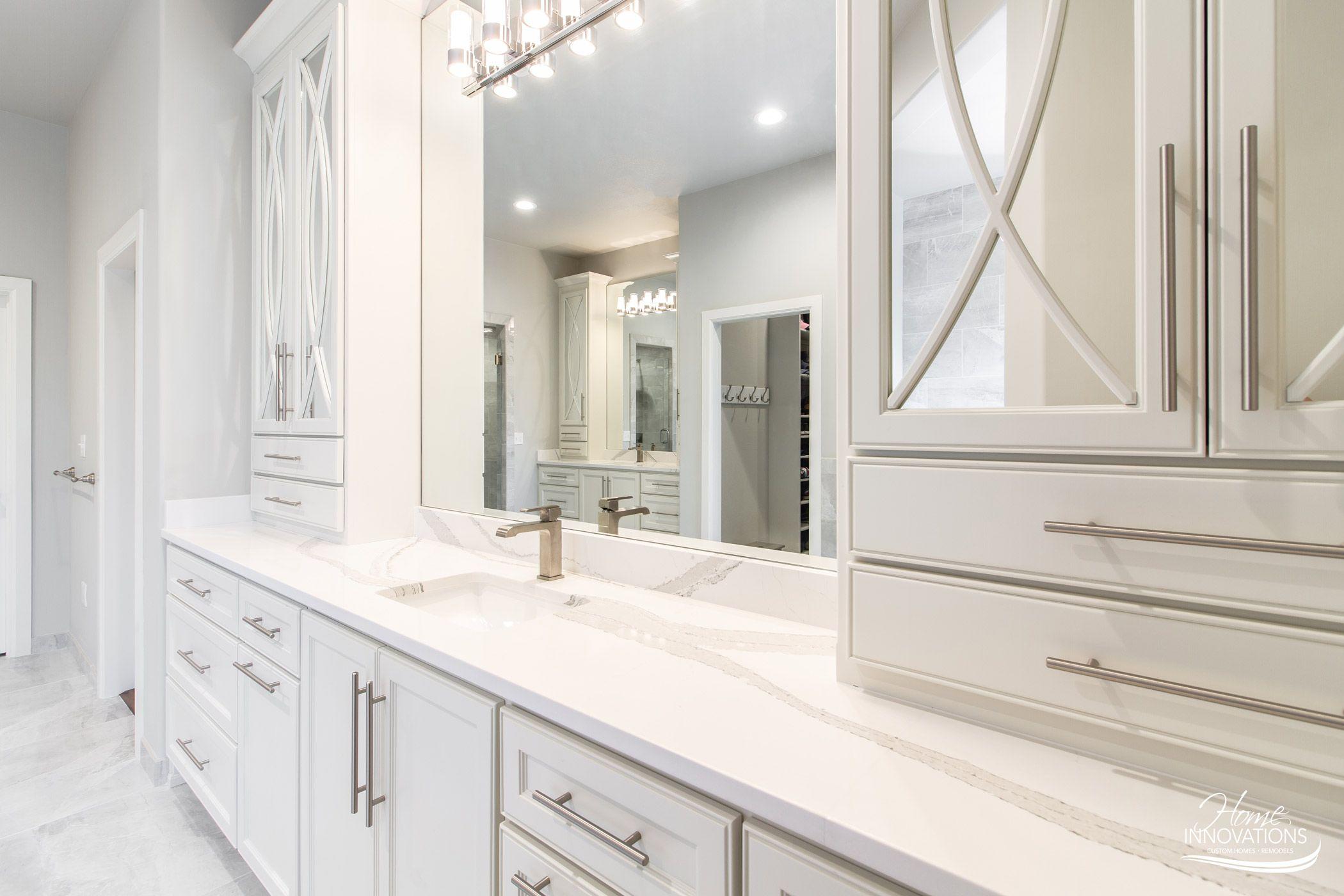 Master Bathroom Remodel Tulsa Ok White Cabinets Tile Floor Mirrored Cabinet Doors Double Vanity Bathrooms Remodel White Cabinets Mirrored Cabinet Doors [ 1400 x 2100 Pixel ]