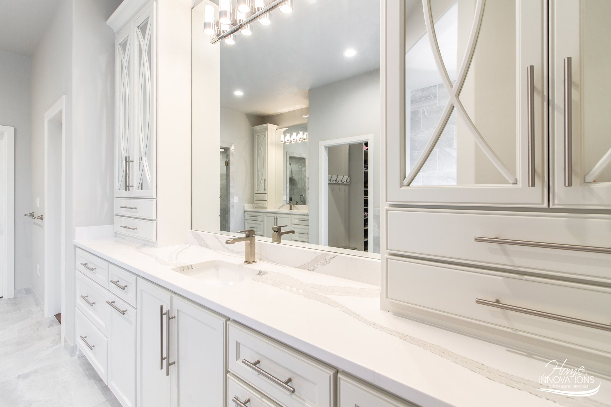 Master Bathroom Remodel Tulsa Ok White Cabinets Tile Floor Mirrored Cabinet Doors Doubl Mirrored Cabinet Doors Bathroom Remodel Master Bathrooms Remodel