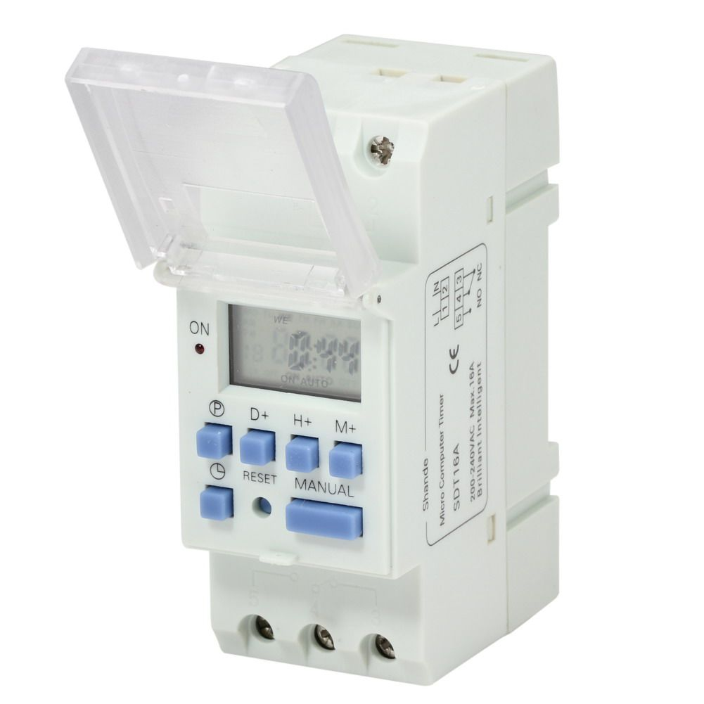 Electronic Weekly Din Rail Digital Programmable Timer Switch Relay Circuit Control Ac 220v 16a Mount