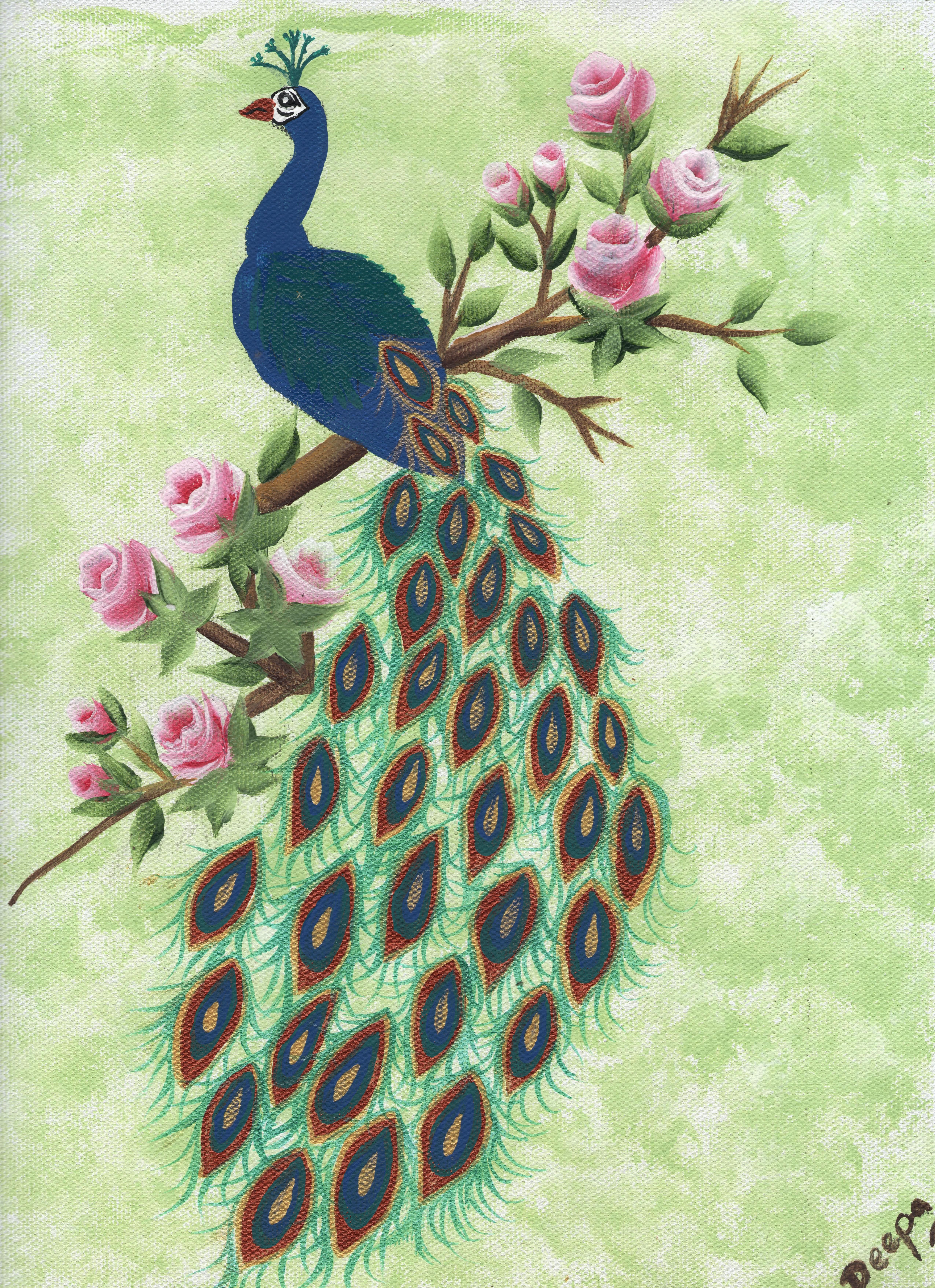 A Beutiful Peackok From One Stroke Painting