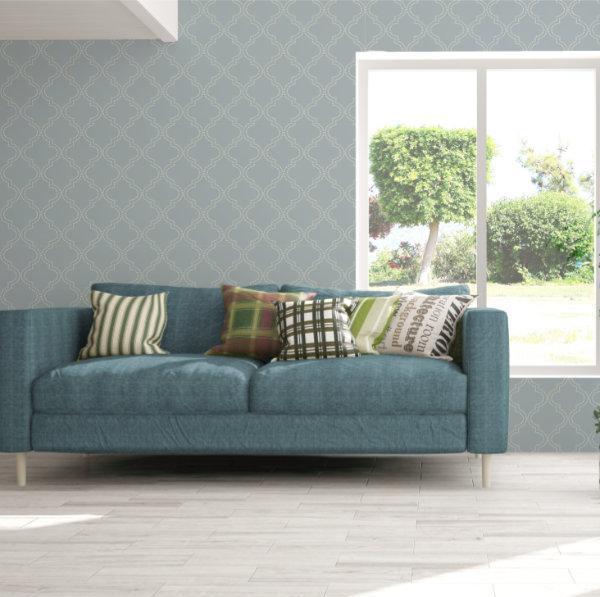 Slate Blue Quatrefoil Peel And Stick Wallpaper In 2021 Simple Decor Peel And Stick Wallpaper Decorating Solutions
