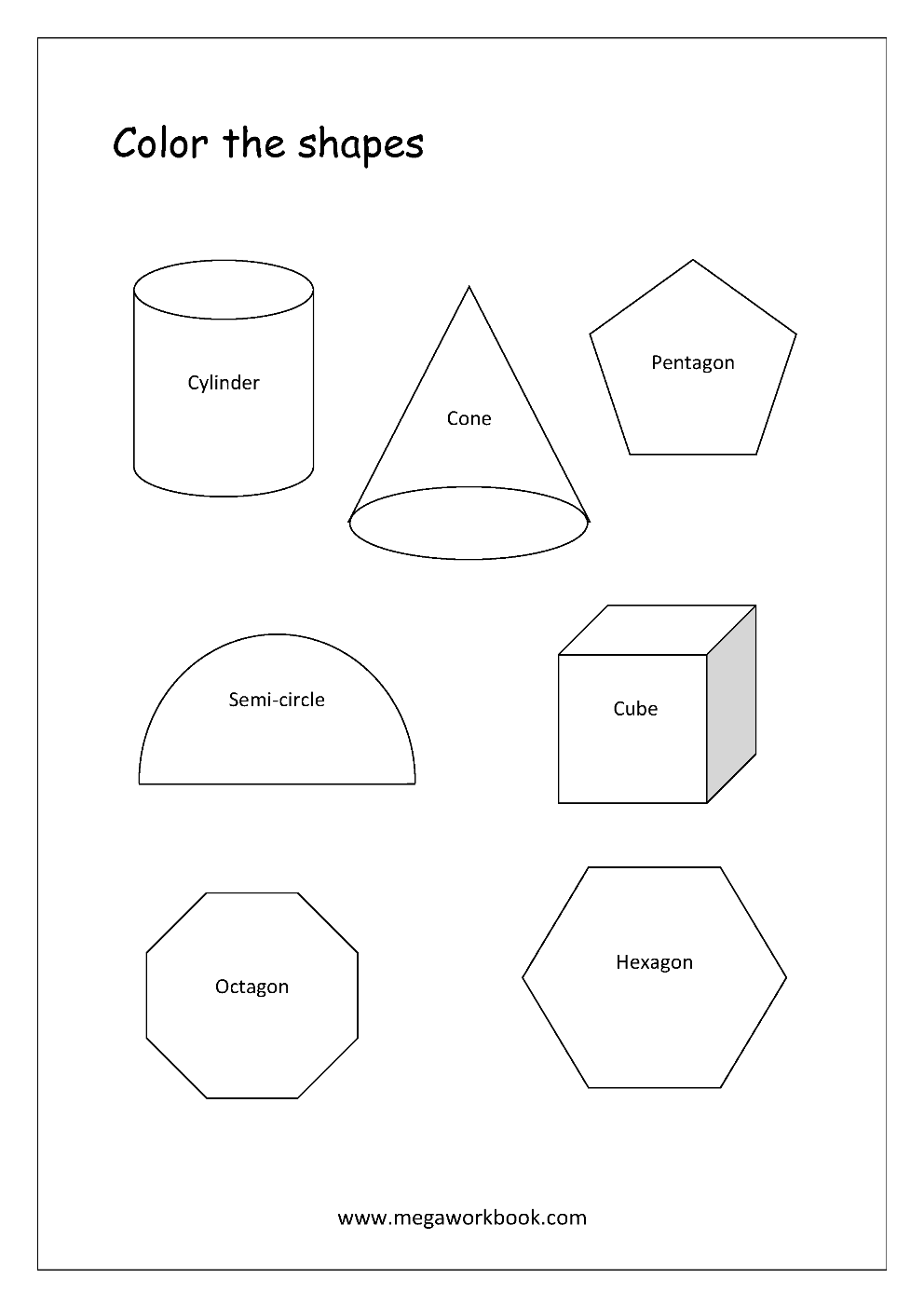 Strong Em Advanced Shapes Coloring Worksheets Cylinder Cone Pentagon Hexagon C Shape Worksheets For Preschool Shape Tracing Worksheets Shapes Preschool [ 1403 x 992 Pixel ]
