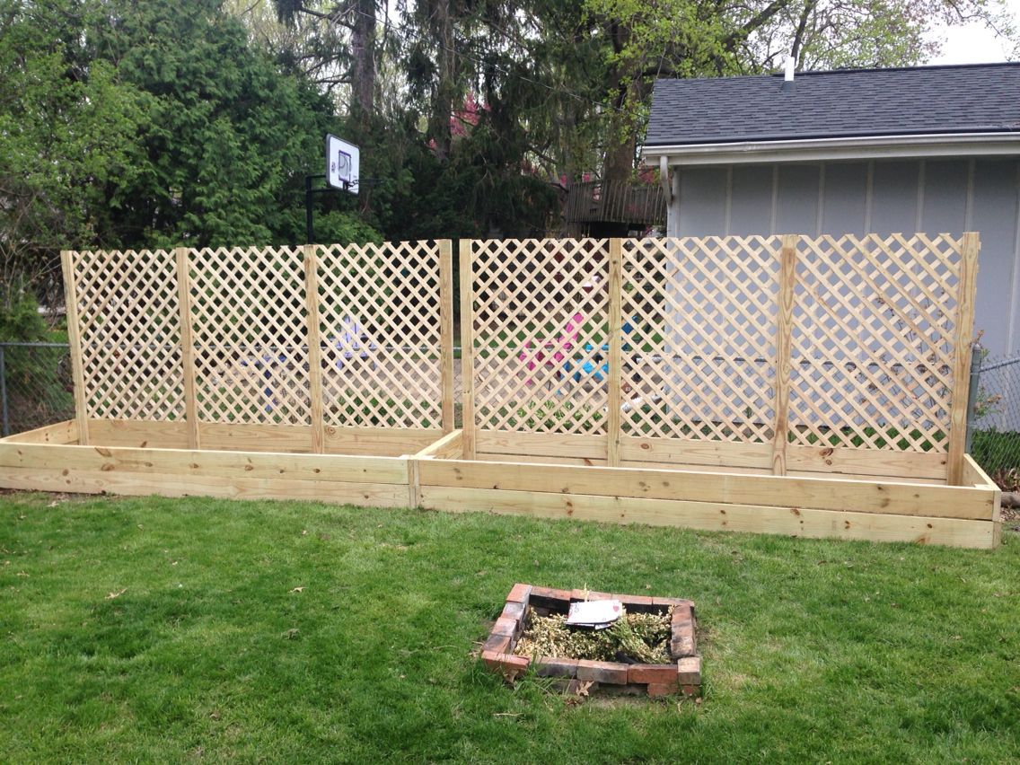 Raised Garden Beds With Lattice Fencing Juliekaytroem Backyard