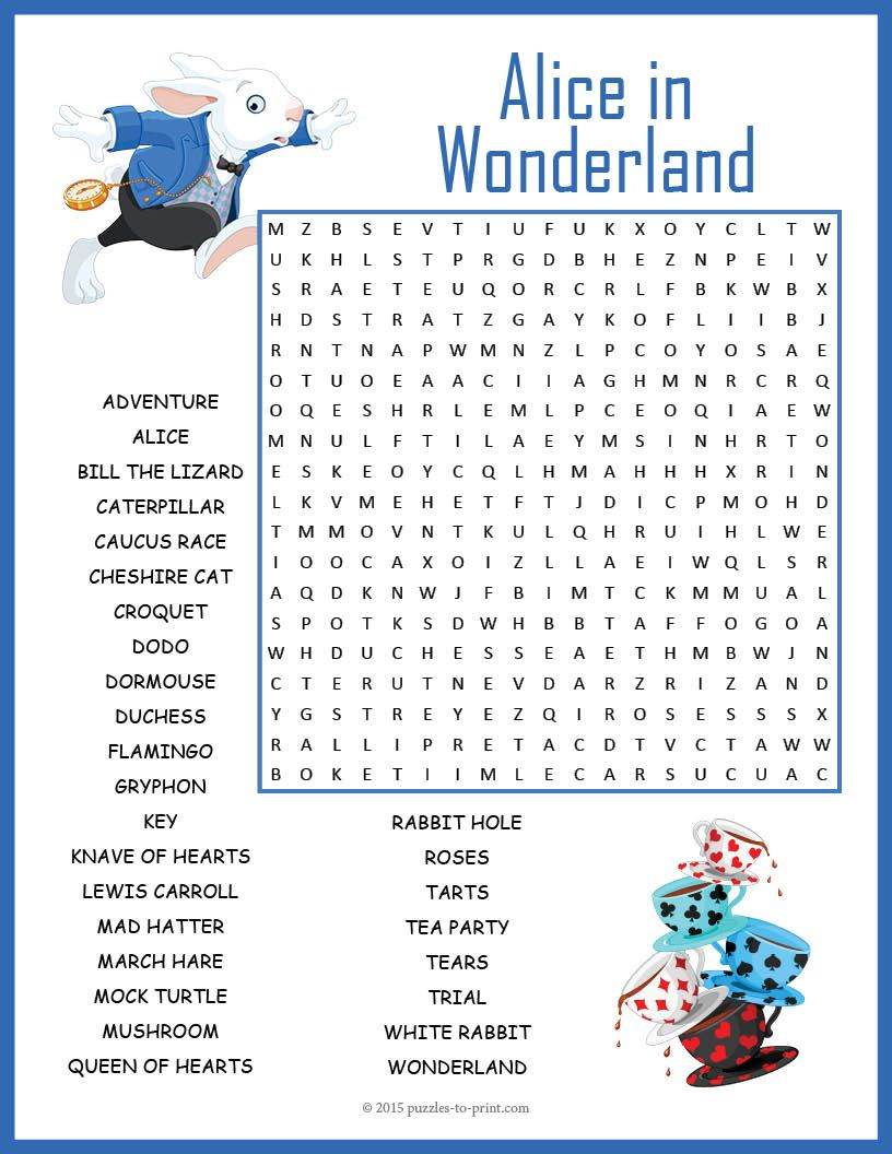 alice in wonderland word search word search puzzles word search