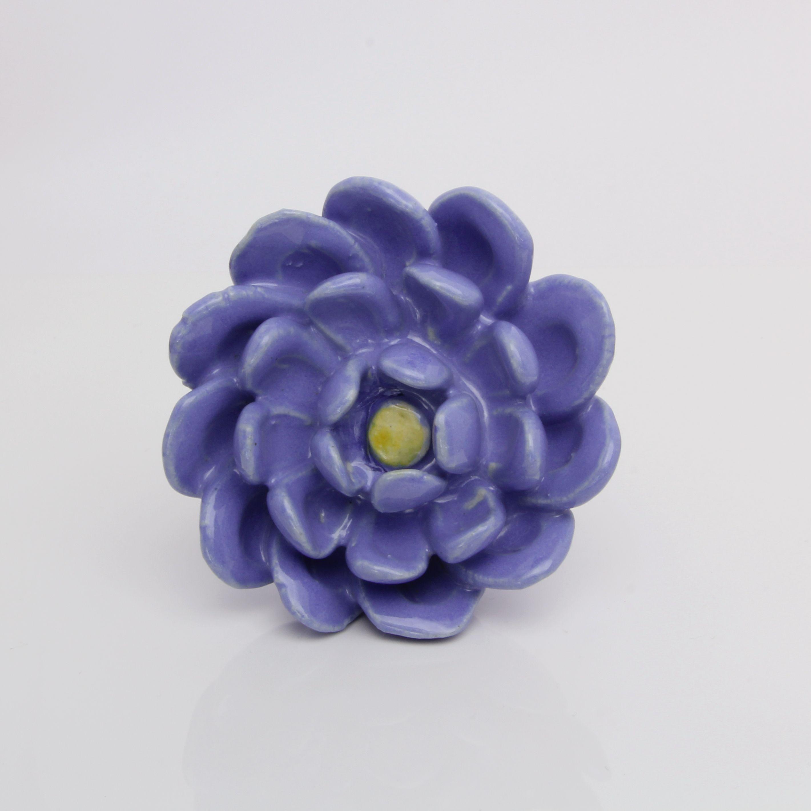 Blue Sky Flower Ceramic Door Knob, Large Floral Decorative Knob