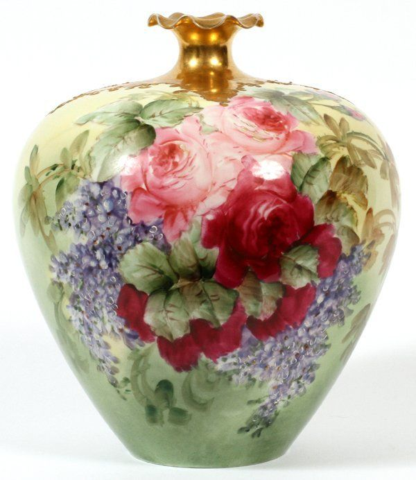 Willets Belleek Porcelain Handpainted Bulbous Vase On Porcelain