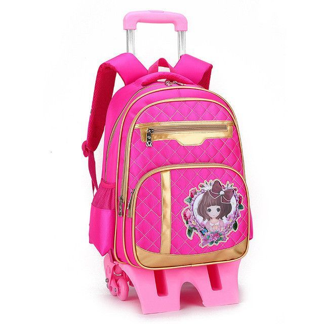 Trolley Backpack For Children School Bag Detachable Wheels Backpacks For  Girls Escolar Mochila Infantil Com Rodinha Menino Bolso c4aec8b5a2fe0