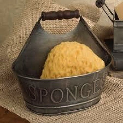 New Primitive Country Colonial Kitchen Sponge Bucket Holder Tin Amazing Kitchen Sponge Decorating Design