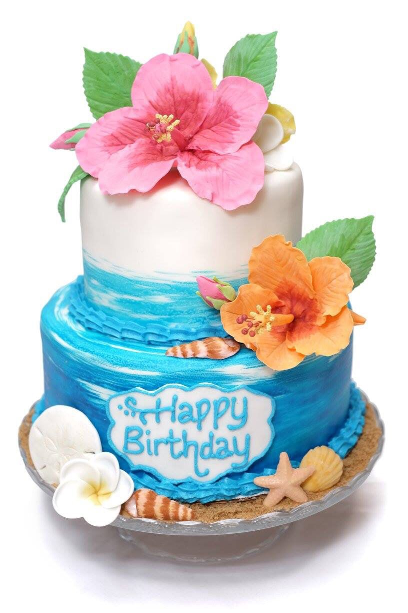 Brilliant Hawaiian Themed Cake For A Very Special 99Th Birthday Party Funny Birthday Cards Online Overcheapnameinfo