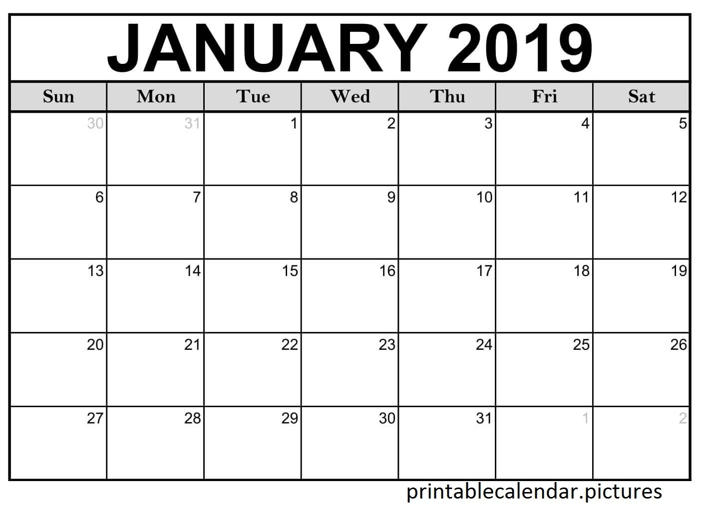 Printable Calendar January Monthly
