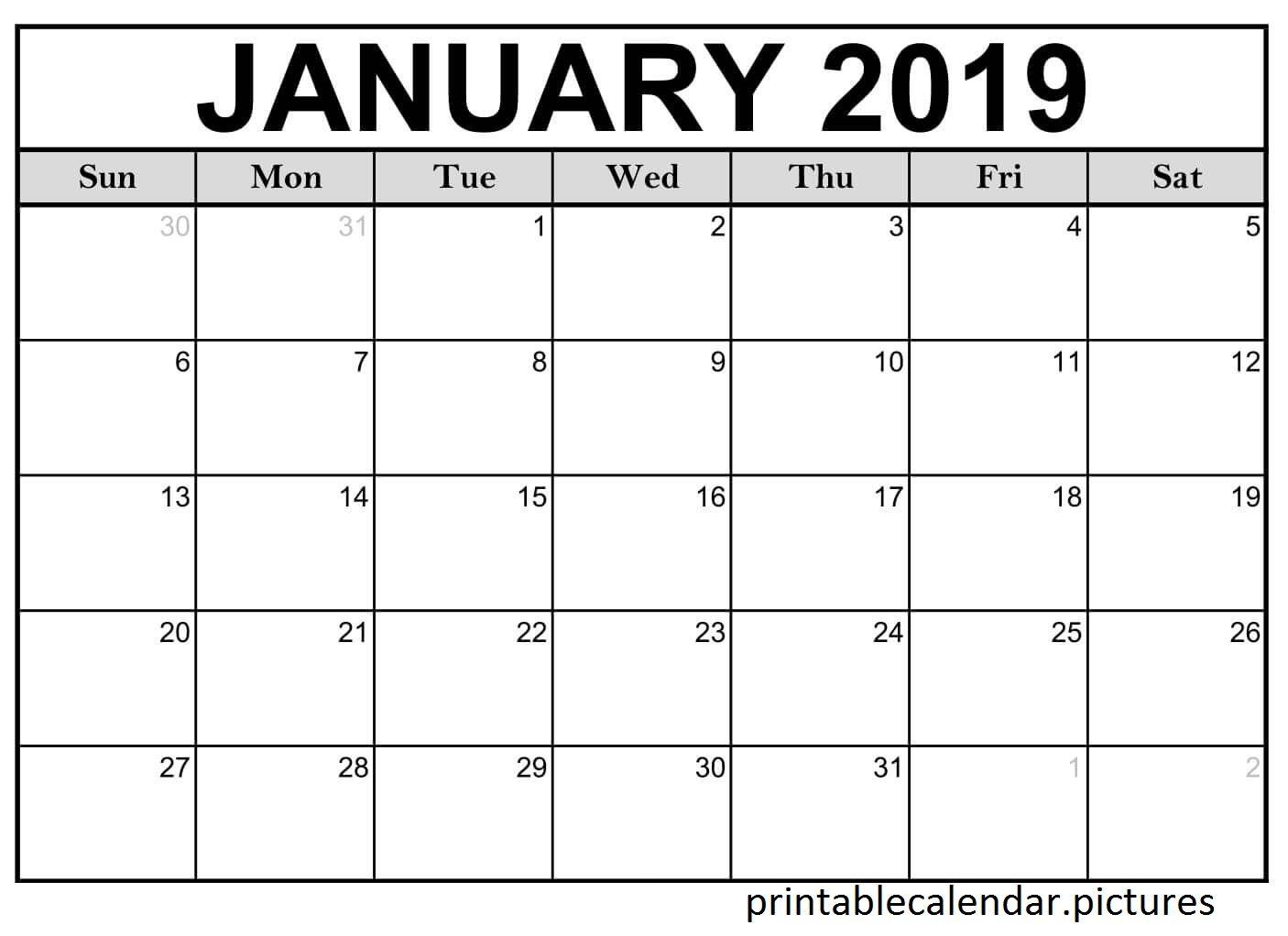 Printable Calendar January Monthly