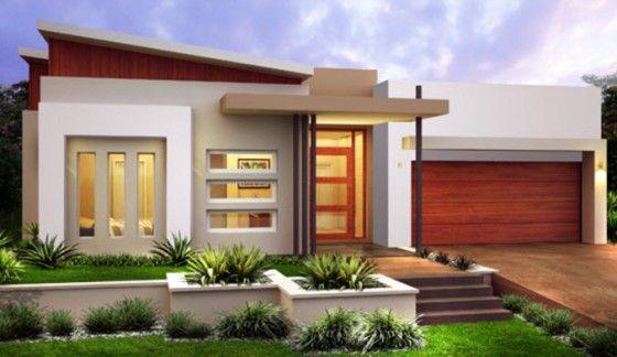10 dise os de fachadas de casas modernas de un piso for Disenos de pisos para casas