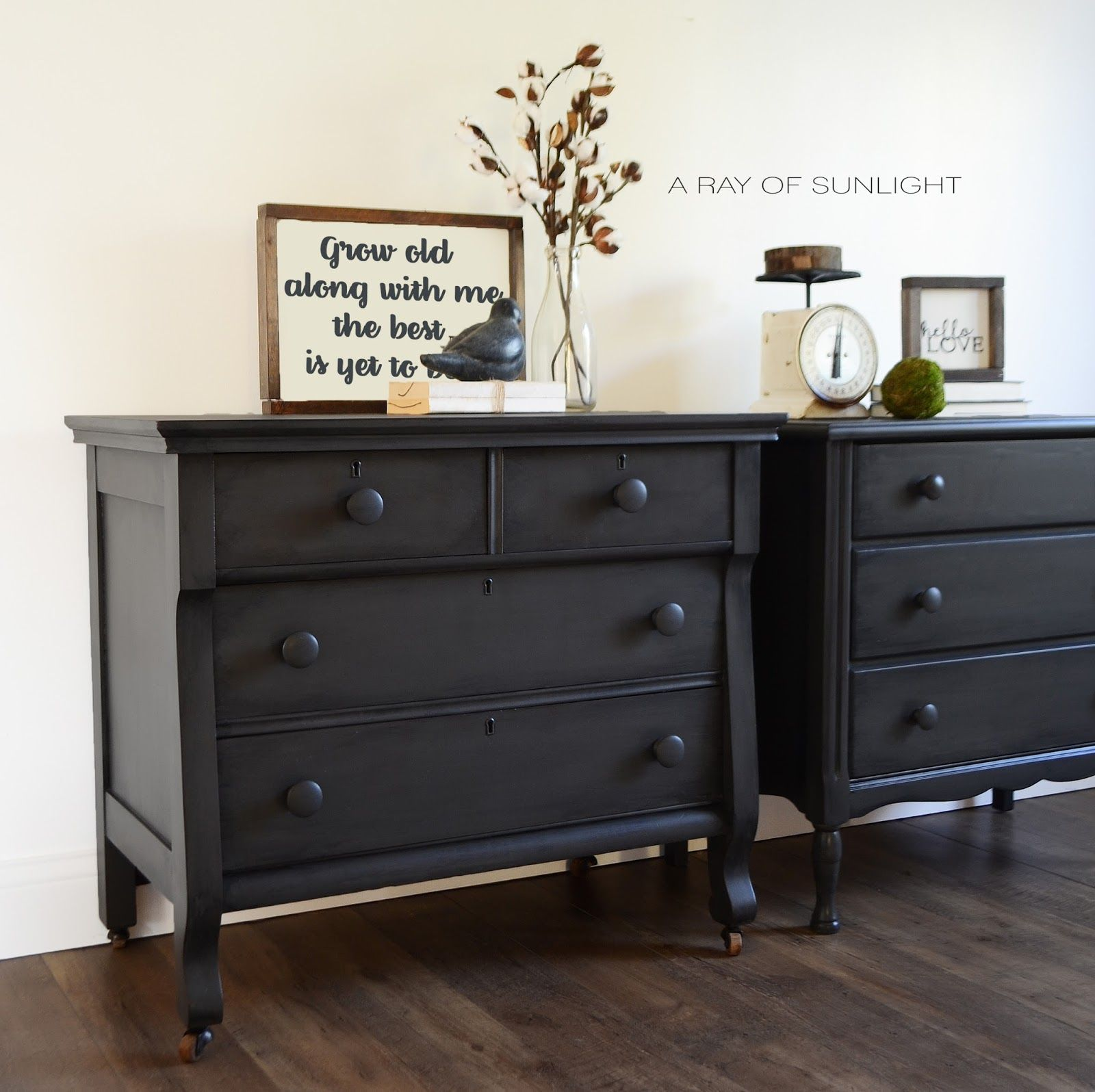 His and Hers Mismatched Nightstands in Deep Grey Wood