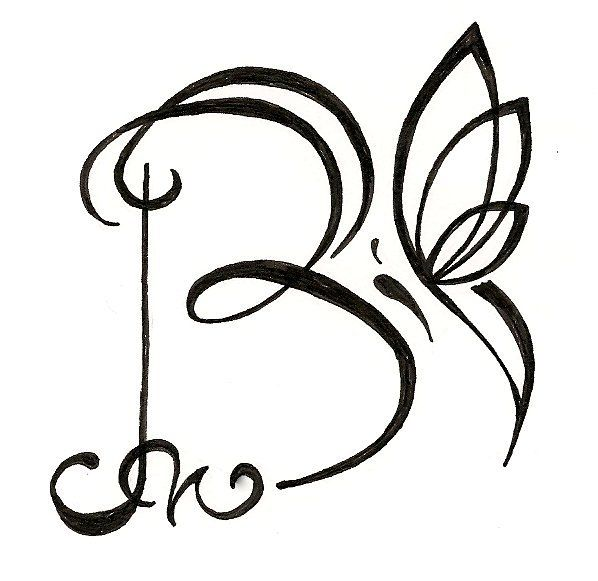 Original Personalized Letter Drawing With Butterfly Www Silverwingsart Com Letter B Tattoo B Tattoo Tatoo Lettering