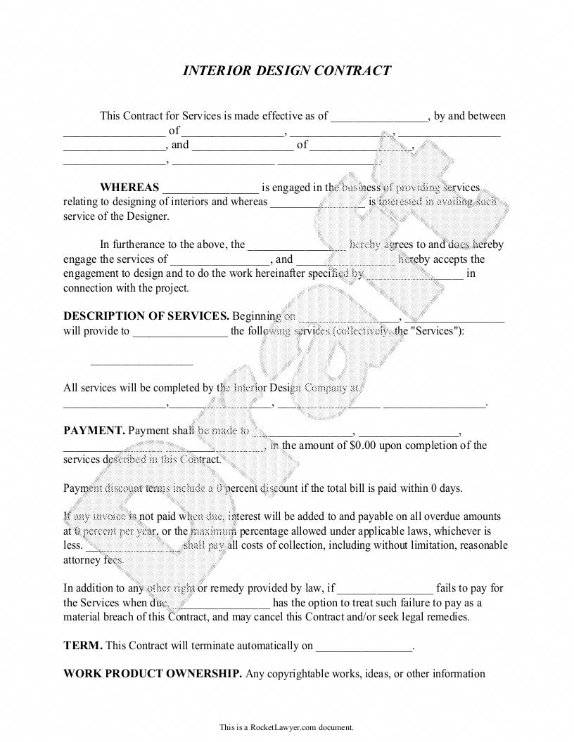 sample interior design contract form template interiorpaintingideas