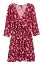 Vestido com decote em V - Bordeaux/Floral - SENHORA | H&M PT 2