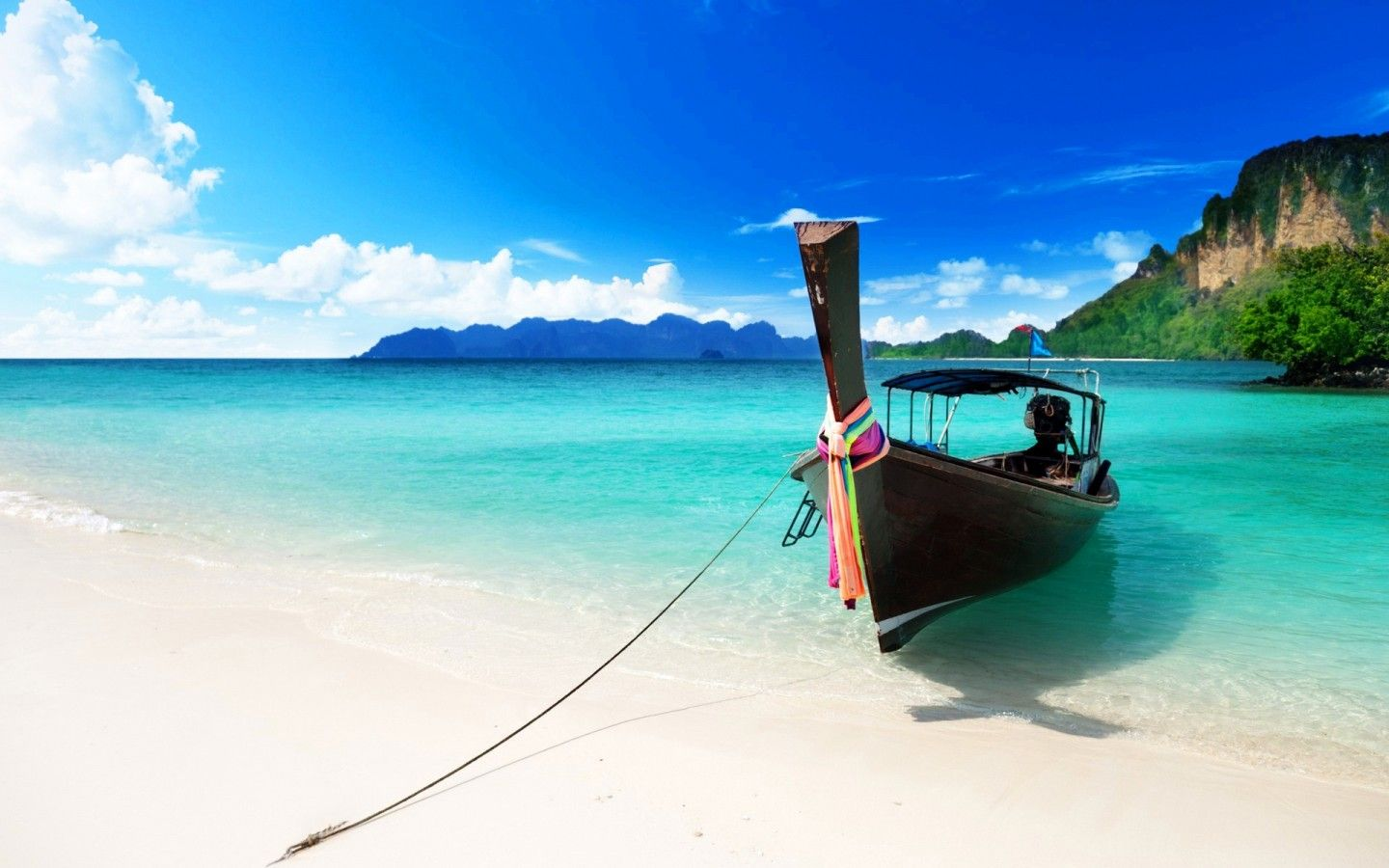 caribbean beach boat wide hd wallpaper for backgrounds | wallpapers