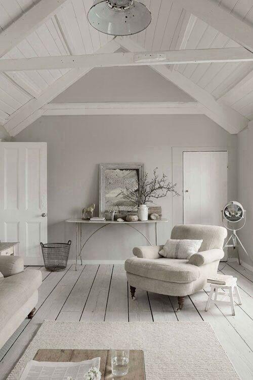 Love the greige walls for the loving room! Living room ideas - como decorar un techo de lamina