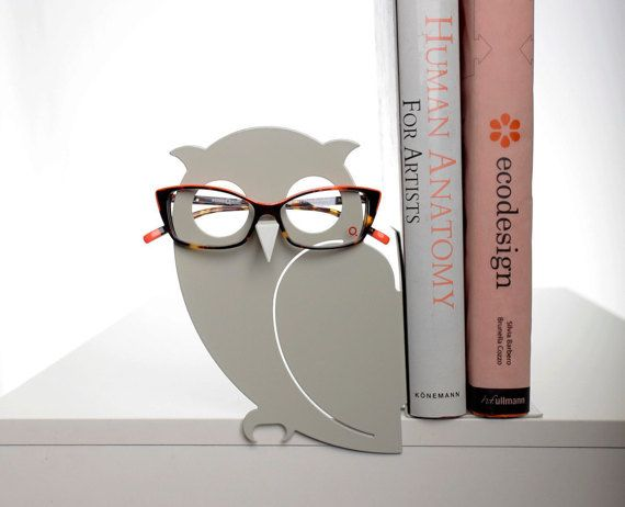 Gray Owl Bookend and Eyglasses Holder by Uligo on Etsy