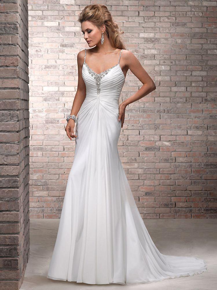 Sheath/Column Spaghetti Straps Chiffon Sweep Train White Beading Wedding Dress