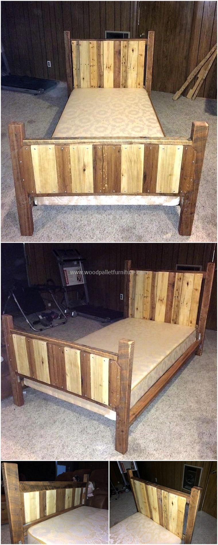 Wood Pallet Single Bed Pallet Wood Headboard Diy Diy Furniture