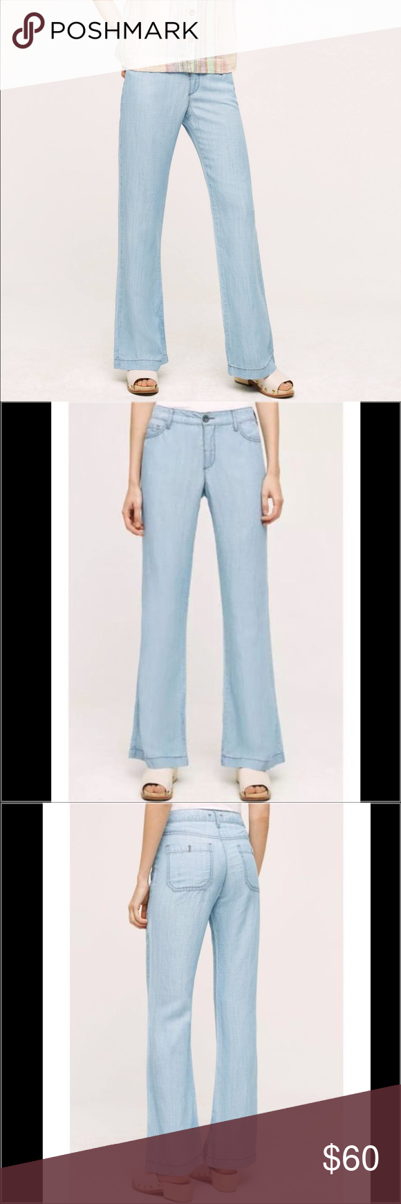 """Anthropologie Chambray Jeans Pilcro High-Rise Chambray Trousers. Lyocell, linen Wide-leg fit Five-pocket styling Machine washable! 28: 15.25"""" waist, 9.5"""" rise and 32.5"""" inseam. 30: 16.25"""" waist, 10"""" rise and 32.75"""" inseam. Anthropologie Jeans Flare & Wide Leg"""