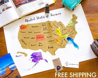 100% Made in USA + Free Shipping in USA - Scratch Map Large format ...