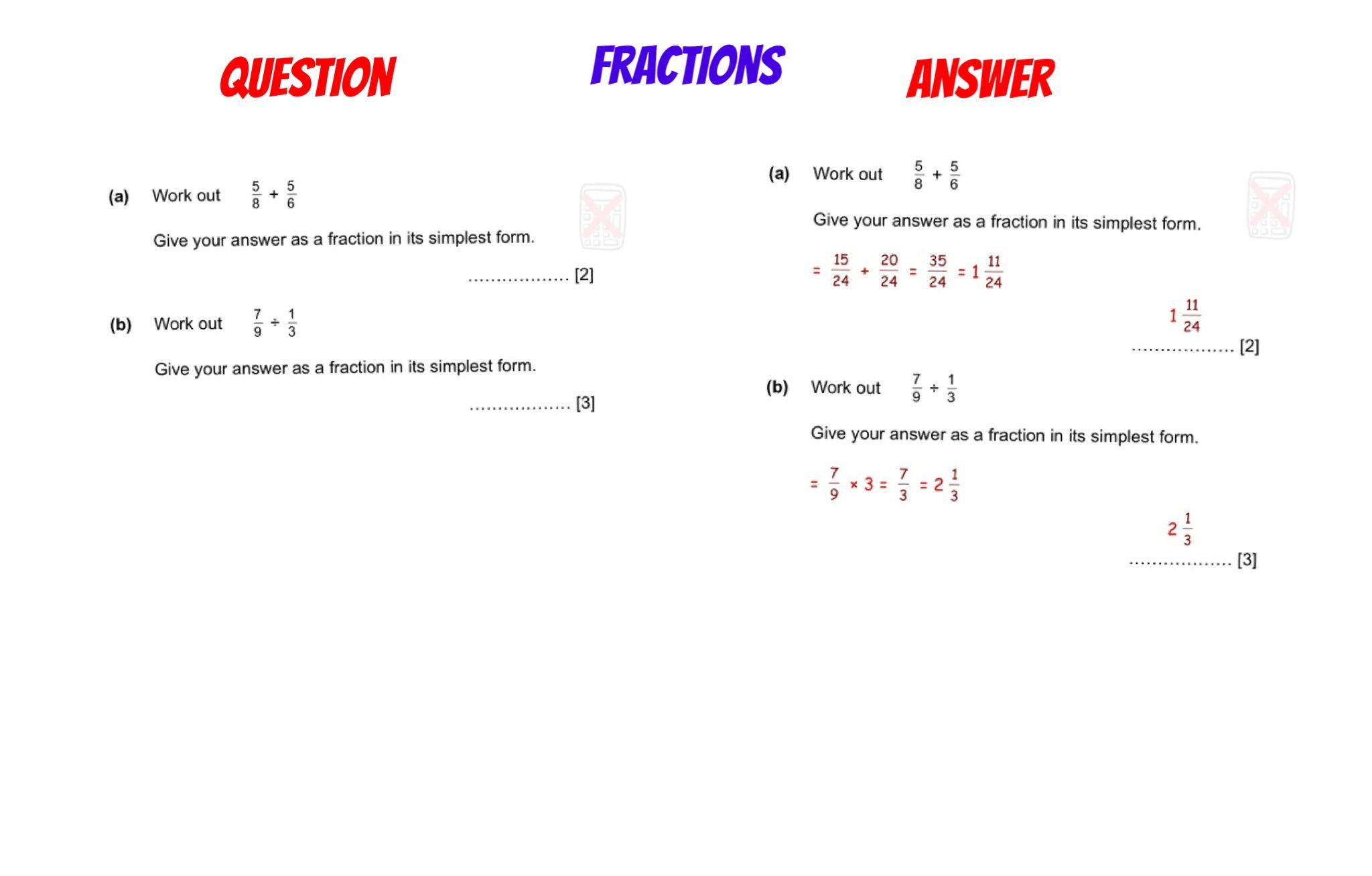 Gcse Revision Fractions Adding Amp Dividing