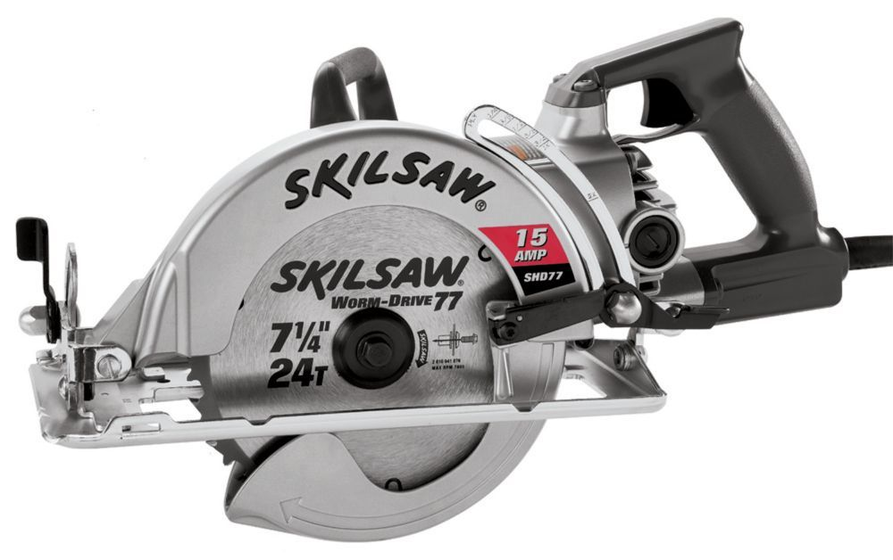 15 Amp Electric 7 25 Inch Aluminum Worm Drive Circular Saw With 24 Tooth Carbide Tipped Blade Worm Drive
