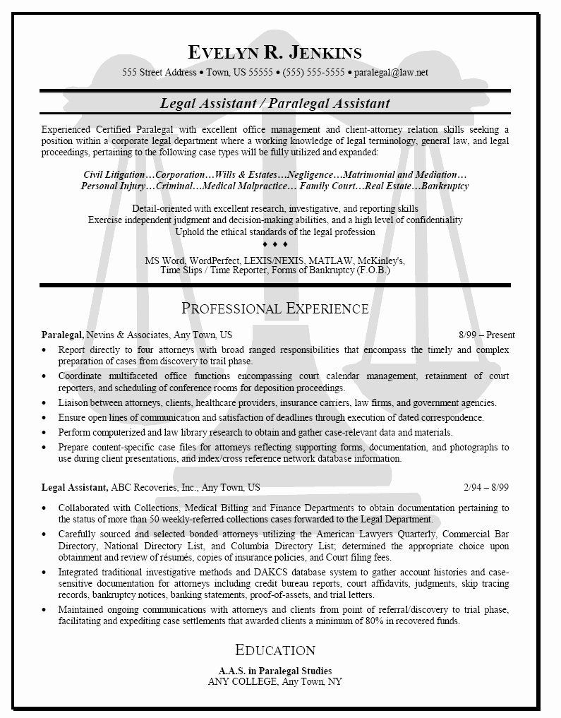 Entry Level Paralegal Resume Lovely Paralegal Resume No