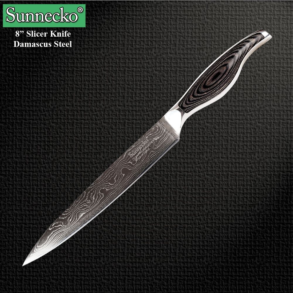 Reviews 2016 Sunnecko 8 Inch Slicer Knife High Quality Damascus Steel Kitchen Knives Utility Cooking Tools Cleaver Knife Free Shipping Now On Sale 2016 Sunnec