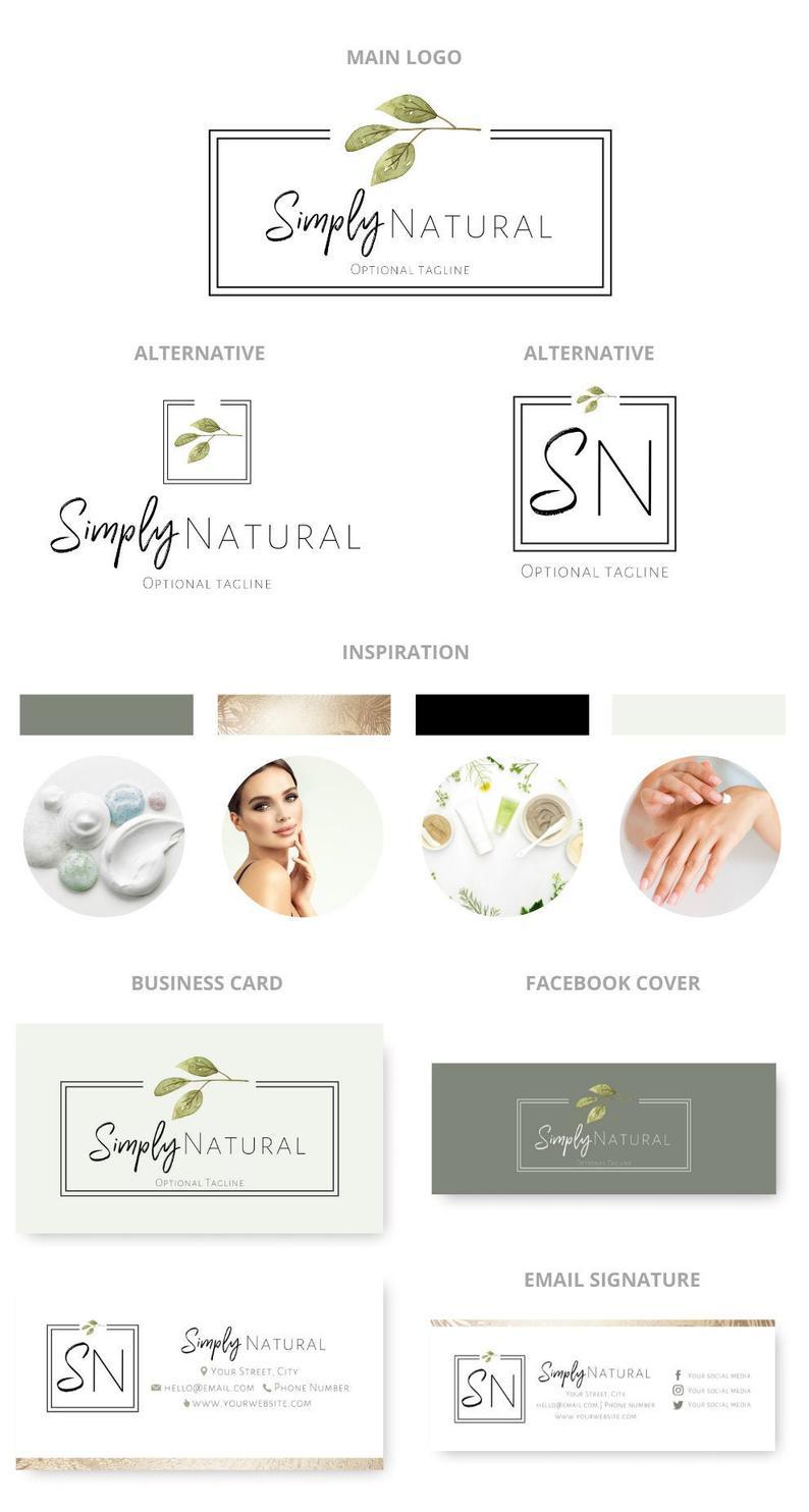 Photo of Organic Logo Set, Branding Kit, Skincare Logo, Premade Logo Design, Watercolor Logo, Raw Vegan Logo, Nutrition Logo