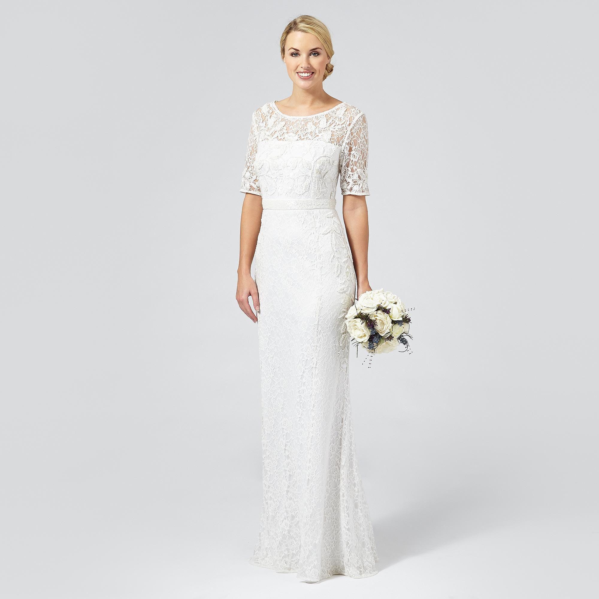 Ivory \'Paloma\' lace and beaded wedding dress - Women - Debenhams ...