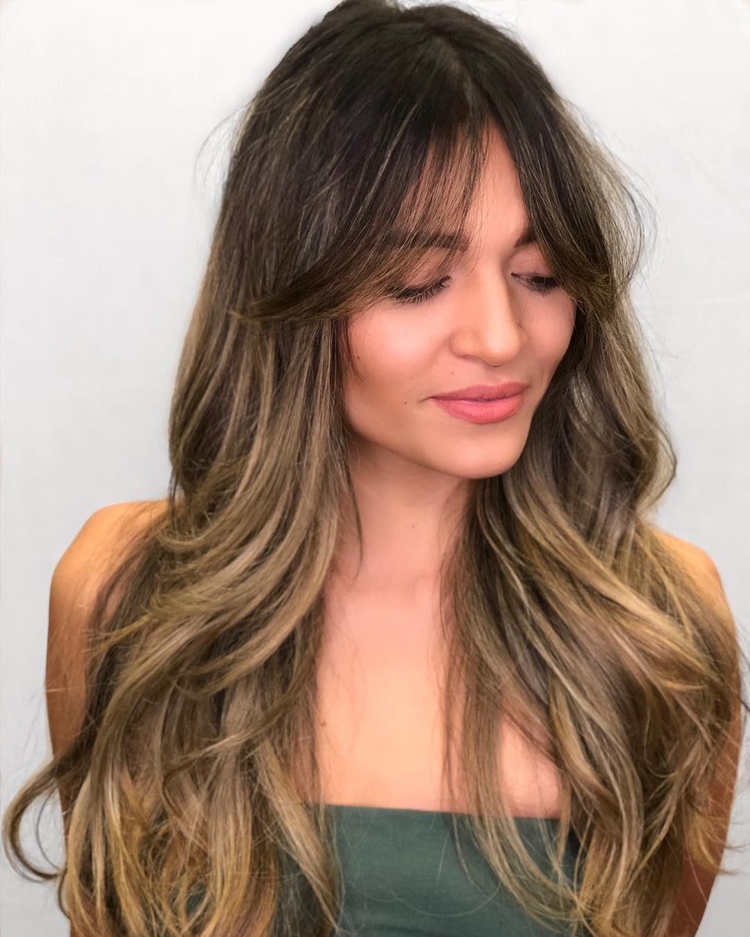 "Karla Valenzuela REDKEN ARTIST on Instagram: ""Loving these trending curtain bangs on @jennnking!!! ????I used @samvillahair cutting tools, shampooed her with #blondageshampoo and styled…"" #curtainbangs curtain bangs"