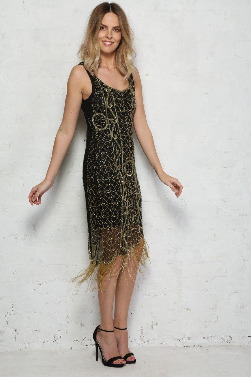 7c0ed654849 Gold And Black Flapper Dress 600x900