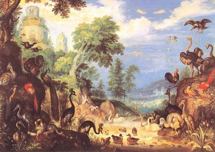 Саверей, Рулант Якобс, Savery Roelant Jacobsz (1576 — 1639). Пейзаж с птицами (1628, Kunsthistorisches Museum, Vienna, Austria)
