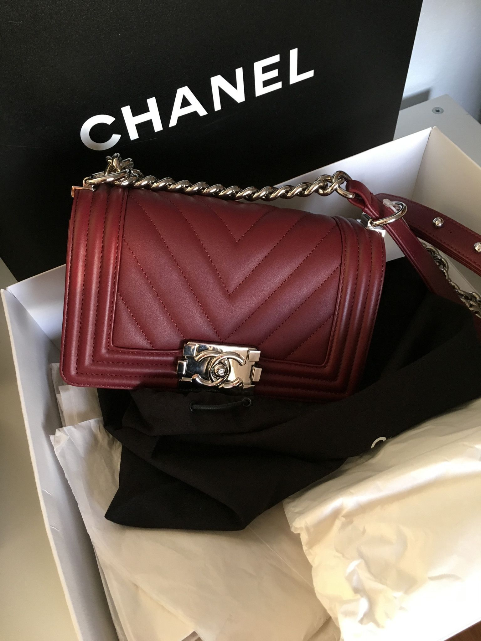cb80b38d79d7 CHANEL Small Boy Flap Chevron With Silver Hardware Burgundy Cross Body Bag